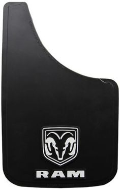 Dodge Ram White Logo Easy Fit 15 Mud Guard - Set of 2 Most colorful and durable flaps. Patented, fiberglass backing that keeps them from cracking or splitting. Adds memory to keep their shape. Made of a specially formulated PVC. Withstands sub-zero temperatures and extreme heat without cracking.  #Plasticolor #AutomotivePartsAndAccessories