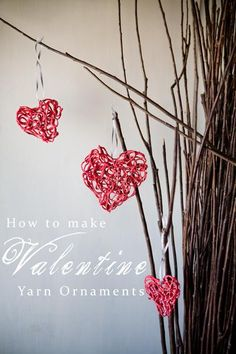Okay so I don't celebrate holidays but I love this idea for a fun special day with the kids or a date with my hubby or even anniversary decorations!!! Ooohhh, now I'm excited!!  DIY Yarn Crafts : DIY Crafts: Valentine Yarn Ornaments Tutorial