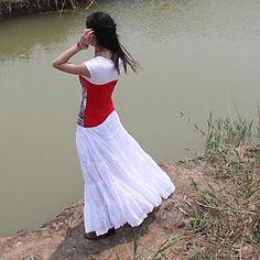 Gypsy Bohemia Elegant Large Hem Cotton Spain Pleated Dance White Long Maxi Skirts for Women 2015 – $28.99
