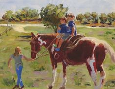 Ride a Painted Pony-little boys taking a horse ride, painting by artist Kay Crain