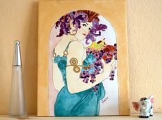 Tile Wall Decor Art Nouveau Fruit Alphonse Mucha  by ShebboDesign, $160.00