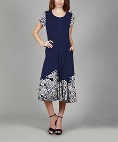 Look at this #zulilyfind! Blue & White Floral Scoop Neck Dress - Plus #zulilyfinds
