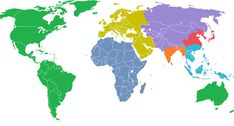 The world split into 7 equal areas of population