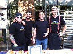 "Veggie Galaxy's ""Men in Black"" at the Summer 2014 ""Taste of Cambridge"" event. l - r: Matt Marini (FOH Mgr.), Christian Simeone (Chef), Adam Penn (Owner), Sam Ranger (Chef, Kitchen Mgr.). www.veggiegalaxy.com"