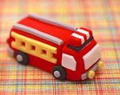 3D Fire Truck Fondant Cake Decor Cupcake Topper - Your Cupcake Story