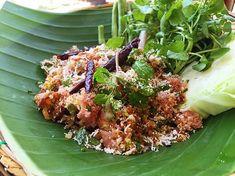 Recipe for Nam Khao - Lao Crispy Rice Salad Asian Recipes, Ethnic Recipes, Laos Recipes, Laos Food, Rice Salad, Food Staples, Asian Cooking, Salad Ingredients, Salad