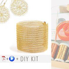 "Yoola """"Ruby"""" Kit - Wire Crochet Tutorials and Supplies - Flower, Cuff"