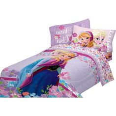 Sister's forever in this super soft microfiber comforter featuring Anna & Elsa in a pretty purple floral motif.
