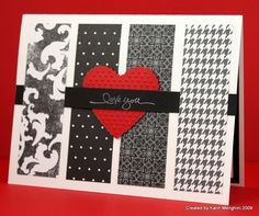 handmade card: I Love You card ... black and white with pop of red ... black and white printed paper panels with a bright red heard ... like the use of patterned papers here ...