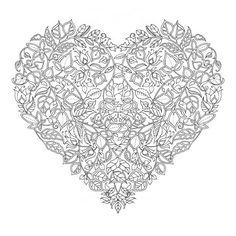 hard floral zentangle heart art coloring pages … … Doodle Coloring, Colouring Pics, Mandala Coloring, Coloring Book Pages, Printable Coloring Pages, Coloring Sheets, Mandalas Painting, Mandalas Drawing, Mandala Art