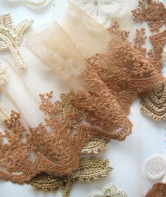 Lace Fabric Trim - Warm Brown Snowflake Leaf Flower Floral Lace Fabric Cloth TRIM 4 Inches. $4.99, via Etsy.