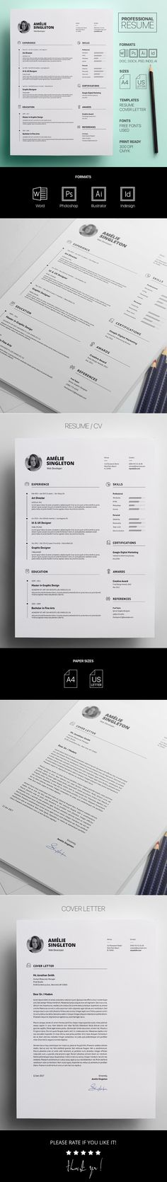CV Template - Professional Resume Template - Free Cover Letter - professional resume and cover letter