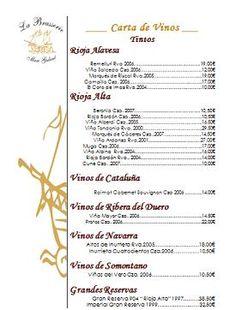 Carta vinos restaurante Hotel de Londres y de Inglaterra.