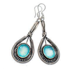 "Faceted Apatite 925 Sterling Silver Earrings 2 1/4"" EARR325756"