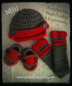 NEW Hat, Rugby Loafers, and Leg Warmers Set Grey and Red Crocheted Baby Boy Photography Prop. $47.50, via Etsy.