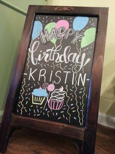 Chalkboard Happy Birthday Sign
