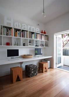 Furniture Home Office Design Ideas. Hence, the demand for house offices.Whether you are planning on including a home office or renovating an old space into one, here are some brilliant home office design ideas to aid you get going. Home Office Design, Modern House Design, Office Designs, Kids Workspace, Workspace Design, Bookshelf Design, Bureau Design, Study Nook, Study Space
