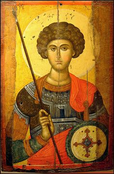 Icon of St George(detail) mid Byzantine & Christian Museum Athens Heaven and Earth: Art of Byzantium from Greek Collections Religious Images, Religious Icons, Religious Art, Byzantine Icons, Byzantine Art, Patron Saint Of England, Saint George And The Dragon, Saint Georges, Empire Romain