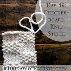 Day 49 : Checkerboard Knit Stitch : #100daysofknitstitches