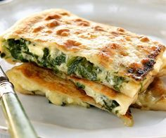 Spinach and feta parcels, spinach recipe, brought to you by Australian Table Spinach Recipes, Vegetable Recipes, Vegetarian Recipes, Cooking Recipes, Healthy Recipes, Greek Recipes, Light Recipes, Good Food, Yummy Food