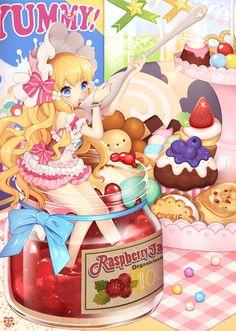 Master Anime Ecchi Picture Wallpapers Original Art Scene Artits Visual Cute Girls Kawaii (http://epicwallcz.blogspot.com/) Comida Food Banana Bowl Fruit Ice Cream Girls Anime Jelly Minigirl Strawberry Candy Dessert Swirl Lollipop (http://masterwallcz.blogspot.com/)