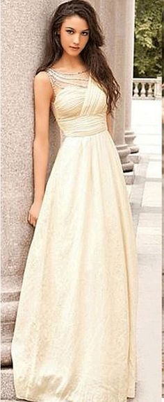 US$125.45-Elegant Scoop Neck Empire Chiffon Champagne Prom Dress with Open Back.  http://www.doriswedding.com/a-line-princess-sleeveless-one-shoulder-chiffon-ruched-floor-length-dresses-p318071.html#.  Free custom made service of any dress design & Free Shipping! Sequin prom dress, beaded prom dress, vintage prom dress 2016, two-pieces prom dress, satin prom dress, long prom dress, elegant prom dress, follow us to get more special offer! #DorisWedding.com
