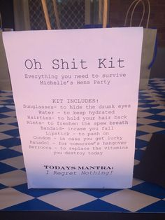 Oh shit kit for hens party