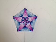 Pentagon and pentagram star are born from a vesica piscis. Grade 6. Geometric drawing. Waldorf.