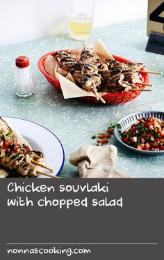 Chicken souvlaki with chopped salad – 80 Days Restaurant Cooked Pork Recipes, Mince Recipes, Best Salad Recipes, Best Chicken Recipes, Best Yogurt Recipe, Best Pork Recipe, Yogurt Recipes, Greek Lamb Recipes, Meat Skewers
