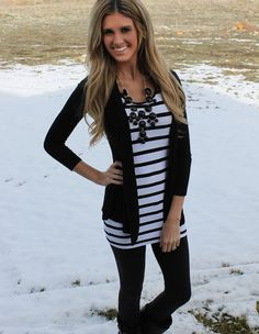 Stripes, leggings, cardigan, and a bubble necklace. I would add a bright colored bubble necklace though!