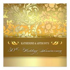 golden floral chic design 50anniversary invitation