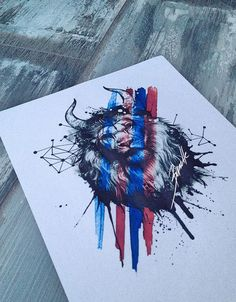 lion tattoo geometric red trash polka abstract blue