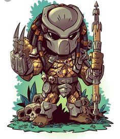 Predator - the art of Derek Laufman Cartoon Drawings, Cartoon Art, Cartoon Characters, Chibi Marvel, Marvel Art, Chibi Superhero, Predator Alien, Comic Art, Character Art