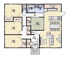 33坪4LDK家族で住む平屋の間取り   平屋間取り