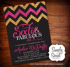 Glitter Glam Surprise 60th Birthday Party Invitation with Gold Glitter and Hot Pink Chevron