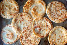 layered yogurt flatbreads – smitten kitchen - these were delicious! Yogurt Flatbread Recipe, Flatbread Recipes, Bon Appetit, Almond Macaroons, Pita, Smitten Kitchen, Spinach Stuffed Mushrooms, Easy Salads, Naan