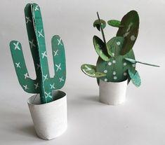 Nowele Domowe : Trzy pomysły DIY z kartona. Inspiracja Pinterest. Planter Pots, Diy, Ideas, Cactus, Bricolage, Diys, Handyman Projects, Do It Yourself, Crafting