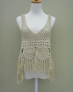 Hippie Fringed Festival Crochet Vest Hi Low Top