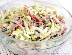 Napa Cabbage, Egg, and Ham Salad Top Salad Recipe, Pasta Salad Recipes, Napa Cabbage, Cabbage Salad, Low Calorie Salad, Ham Salad, Cucumber Salad, Top 5, International Recipes