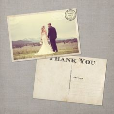 Gia  Vintage Wedding Postcard Thank You Cards by NostalgicImprints, $38.00
