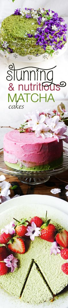 Stunningly beautiful & nutritiously versatile, these cakes are packed with heart-healthy almond flour, polyphenol rich strawberries, and of course, antioxidant-rich Matcha green tea!    #recipe #matcha #matchalover #cake #cakes #matchacake #matcharecipes #antioxidants #healthy #tea #teatime #chocolate #baking #dessert