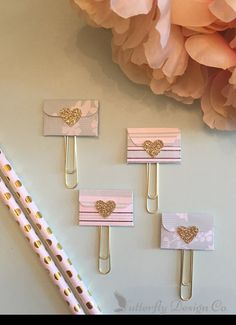 Planner accessories are really popular right now and these are the perfect way to dazzle up your planner. You can also add them to your scrapbook pages, pocket letters, or they are even a cute way to hold your coupons together. The clip makes it really easy to put just about anywhere.  These adorable Mini Envelope Planner Clips are made from Card Stock. They measure approximately 2 1/2 long and are on jumbo sized paper clips. The colors shown are packaged and ready to give as gifts for a...