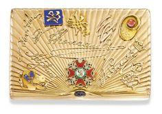 A gold souvenir cigarette case, Morozov, St Petersburg, 1908-1917
