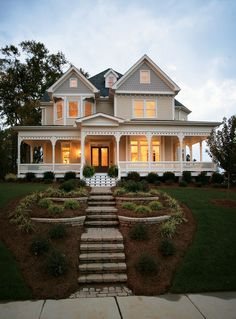 plans for this multi-story family farmhouse are available for purchase—build this beauty wherever you'd like.The plans for this multi-story family farmhouse are available for purchase—build this beauty wherever you'd like. Style At Home, Victorian House Plans, Victorian Farmhouse, Victorian Homes Exterior, Victorian Houses, Victorian Style Homes, Victorian Porch, Folk Victorian, Victorian Interiors