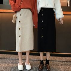 New recommended plain knit casual shin length high waist A . - New recommendation plain knit casual shin length high waist A-line skirt including tax: 2260 yen Be - Modest Outfits, Skirt Outfits, Cool Outfits, Casual Outfits, Muslim Fashion, Modest Fashion, Fashion Outfits, Aesthetic Fashion, Aesthetic Clothes