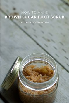 This brown sugar foot scrub is perfect for a quick gift for a friend or yourself! The best part is you probably have all of the ingredients in your pantry already! :) Your feet will thank you! littlegirldesigns.com