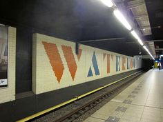 Waterlooplein, metro station, Amsterdam - font by Willem Sandberg. He designed it during the world war, he had to go into hiding and made it by tearing small pieces of paper. That's where the frayed border comes from. Waterloo Station, Underground Tube, Font Shop, U Bahn, Metro Station, Corporate Identity, Public Art, Beautiful World, Signage