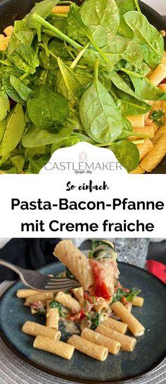 Dieses einfache Rezept für eine Pasta-Bacon-Pfanne mit cremiger Creme-fraiche-Soße, Blattspinat und Kirschtomaten ist perfekt für alle Pastafans. Das schnelle Rezept gibt es auf Castlemaker.de Pasta, Creme Fraiche, Bacon, Foodblogger, Drinks, Photography, Fast Recipes, Delicious Dishes, Chef Recipes