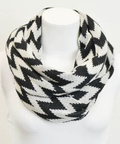 Black & White Zigzag Infinity Scarf
