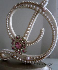 Monogram Custom Pearl Letter D Wedding Cake by NDetailDesign